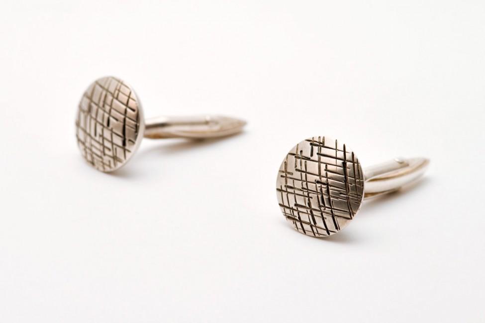 Manschettenknöpfe, 925/-Silber, oxidiert